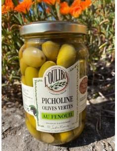 Picholines - Olives Vertes au Fenouil - bocal 200 G