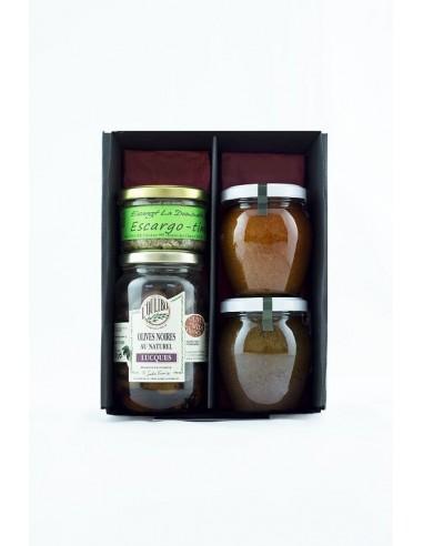 23. Coffret verrine escargot  80 g + olives 200 g + duo salés 200 g